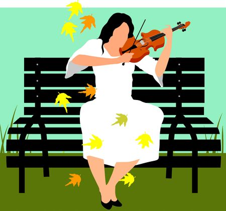 bench alone: Illustration of silhouette of a lady playing violin