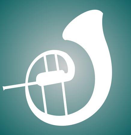 Illustration de la silhouette d'un saxophone Banque d'images - 3443974