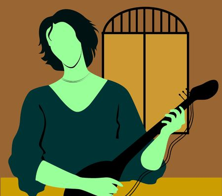 conduct: Illustration of silhouette of a lady playing violin
