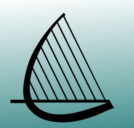 Illustration of a harp in green  background  Stock Photo