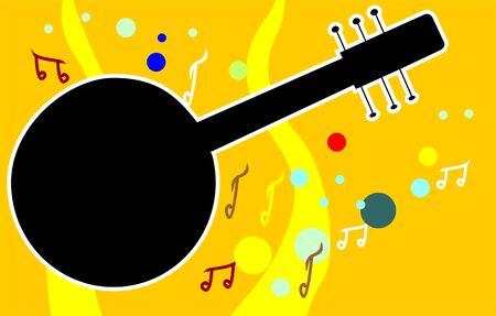 mandolino: Illustrazione di un mandolino con note musicali