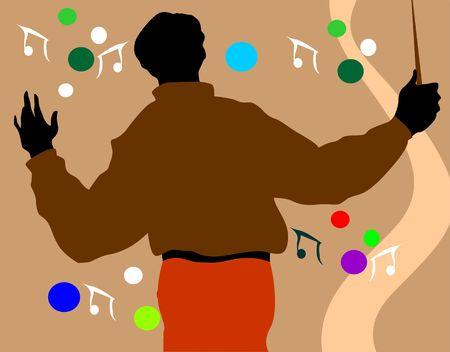 Illustration of silhouette of a musician    illustration