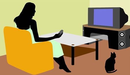 Illustration of silhouette of a lady watching TV  illustration