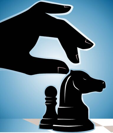 Illustration of silhouette of hand and chess pieces  illustration