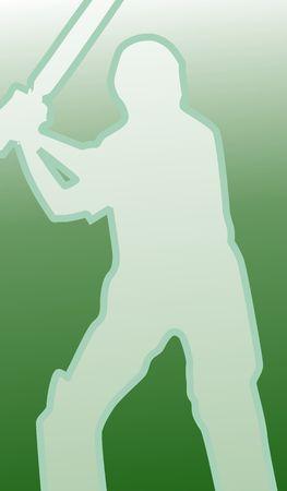 Illustration of a cricket player Stock Illustration - 3456701