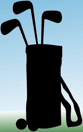 Illustration of silhouette of golf bag