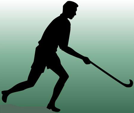 hockey cesped: Ilustraci�n de la silueta de jugador de hockey