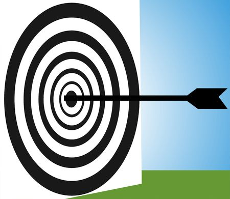 concision: Illustration of silhouette of a target and arrow