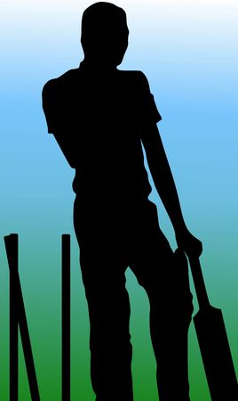 Illustration of silhouette of a cricket batsman Stock Illustration - 3456709