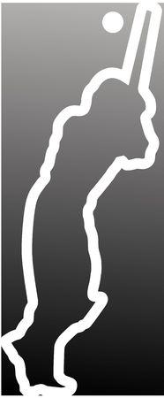 Illustration of a silhouette of a cricket batsman Stock Illustration - 3456693