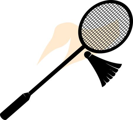 Illustration of a shuttle badminton racket and birdie  illustration