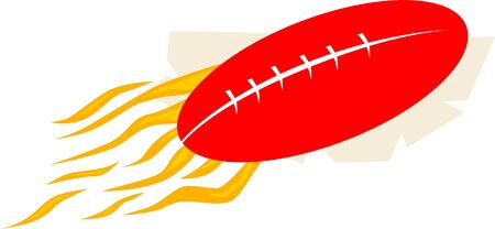 Illustration of a flamer red rugby ball Stock Illustration - 3456697