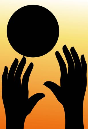 Illustration of silhouette of a basket ball and human hands  illustration