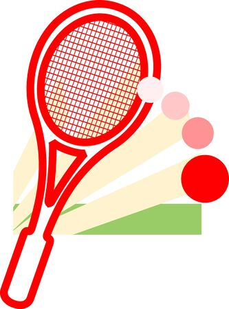 Illustration of a tennis racket and ball  illustration