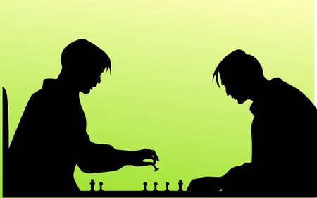arranging: Illustration of silhouette of people playing chess