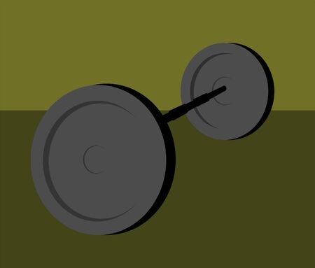 Illustration of silhouette of weightlifting discs bar  illustration