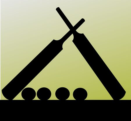 Illustration of silhouette of a cricket kit  Stock Photo