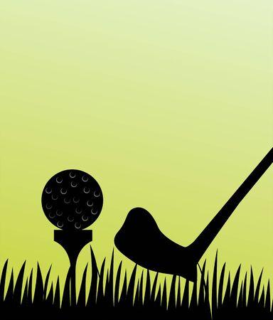 Illustration of golf stick and tee  illustration
