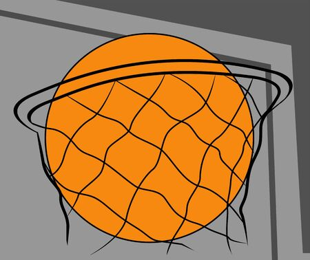 nba: Illustration of a basketball in net  Stock Photo