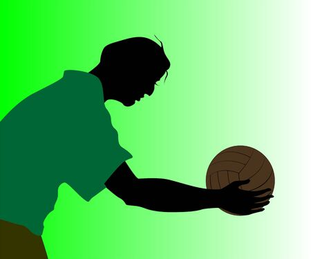 Illustration of silhouette of a ball player  illustration