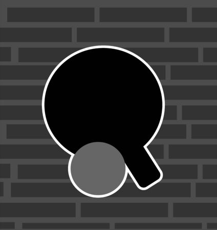 Illustration of silhouette of a table tennis bat and ball  illustration