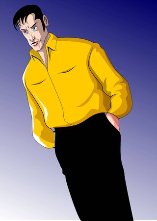 Illustration of a man standing in blue background  illustration