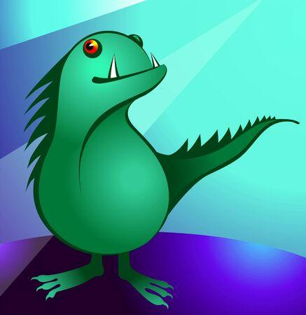 Illustration of a cartoon dragon    illustration