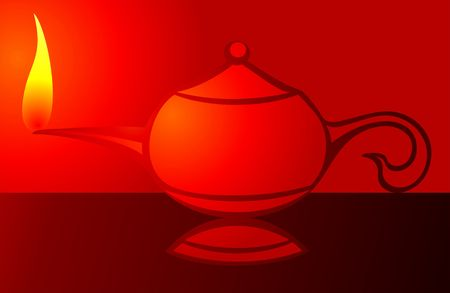 Illustration of aladins%uFFFDs magic lamp in red background