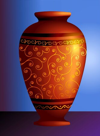 clay pot: Illustration of a decorated clay pot