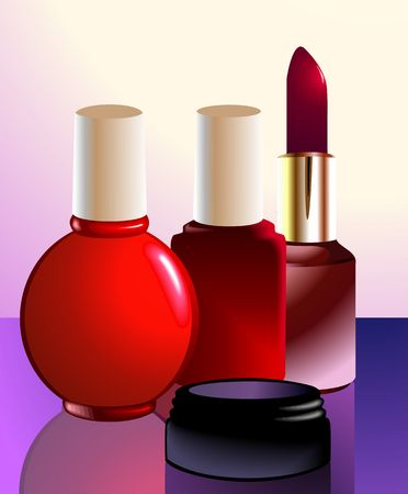 Illustration of four cosmetics container  illustration