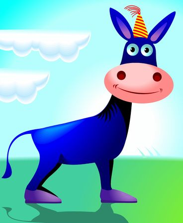 Illustration of a cartoon donkey with cap on head  illustration