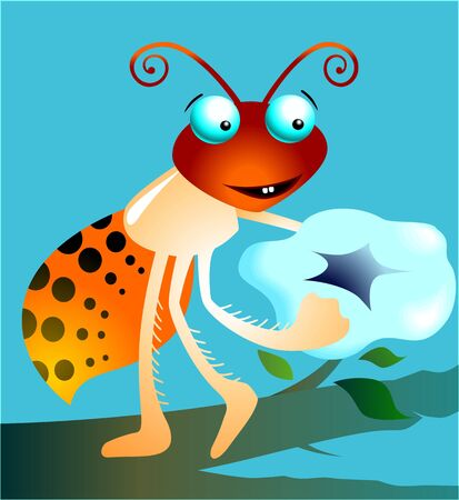 Illustration of a cartoon insect with flower in hand  illustration