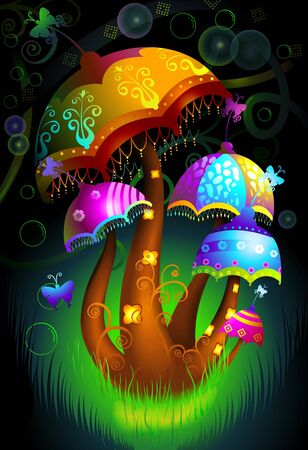 Illustration of a colourful styled umbrellas in decoration