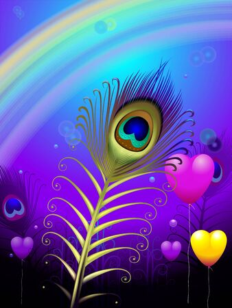 Illustration of a peacock feather in background of rainbow