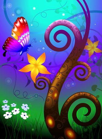 eacute: Illustrazione di farfalle e sfondo colorato