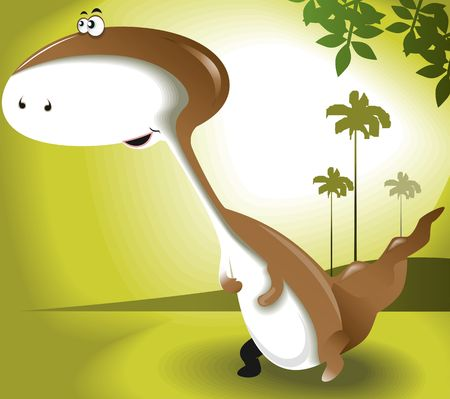 Illustration of a cartoon dinosaur  illustration