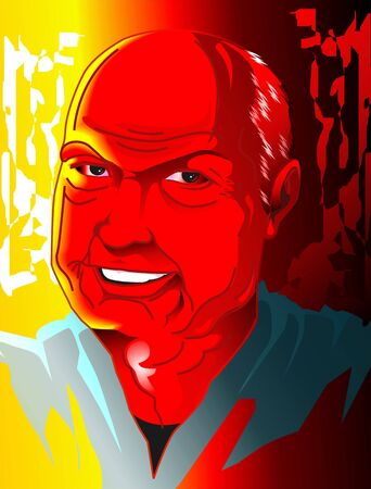 Illustration of a old mans face in red colour Stock Illustration - 3458482