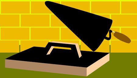 sander: Illustration of trowel and sander  Stock Photo