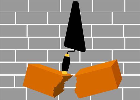 sander: Illustration of trowel and bricks