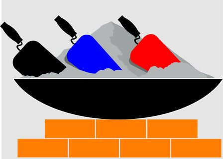 stone mason: Illustration of a  brick laying activity in progress