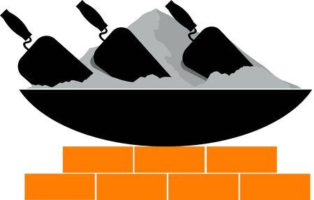 sander: Illustration of a  brick laying activity in progress