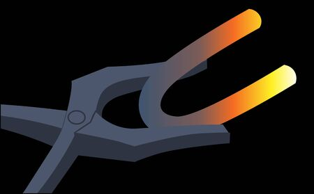 tongs: Illustration of a tongs taking a hot metal piece  Stock Photo