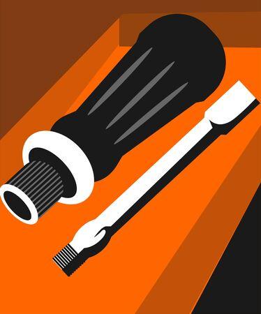 Illustration of a removable screwdriver  illustration