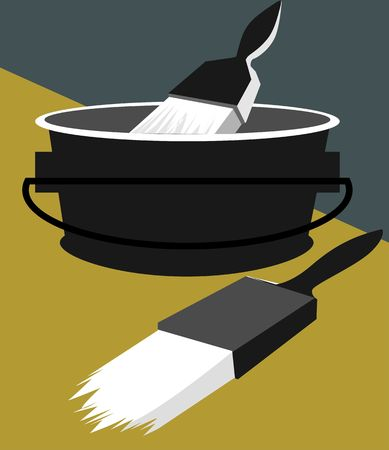 latex: Illustration of paint bucket and brushes