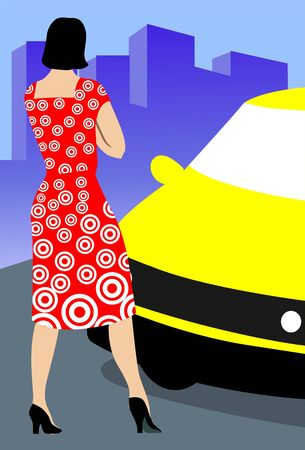 citylife: Illustration of silhouette of a lady standing near a car