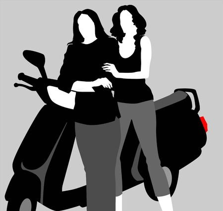 citylife: Illustration of females coming in scooter Stock Photo