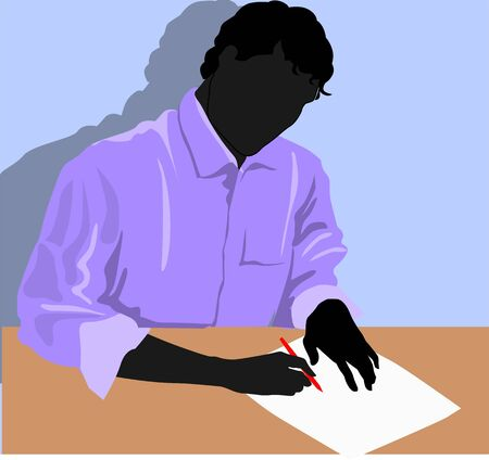 Illustration of silhouette of a man writing illustration