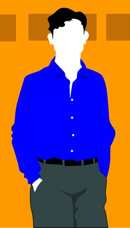 man standing alone: Illustration of silhouette of a man standing alone  Stock Photo