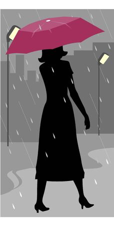 Illustration of silhouette of a lady walking in rain  illustration