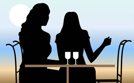 Illustration of silhouette of ladies sitting in a cafeteria  illustration